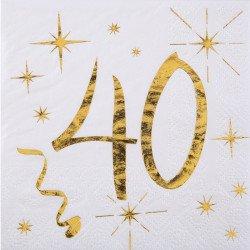 """20 Serviettes  """"40 ans""""  blanches et dorées"""
