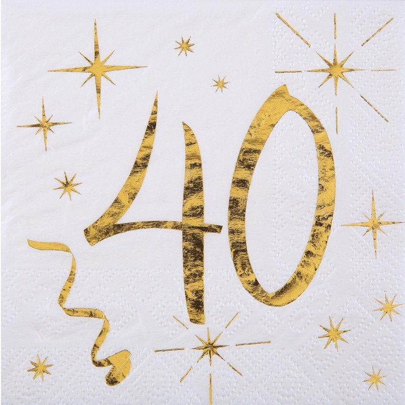 20 Serviettes papier blanche et dorée 40 ans