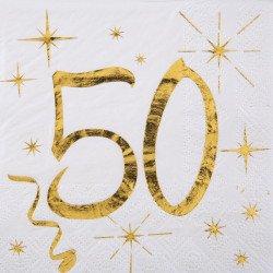 """20 Serviettes """"50 ans"""" blanches et dorées"""