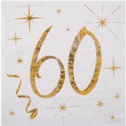 20 Serviettes papier blanche et dorée 60 ans