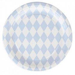 Assiettes tendres losanges bleu (x8)