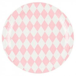 Assiettes tendres losanges (x8) - Rose pastel