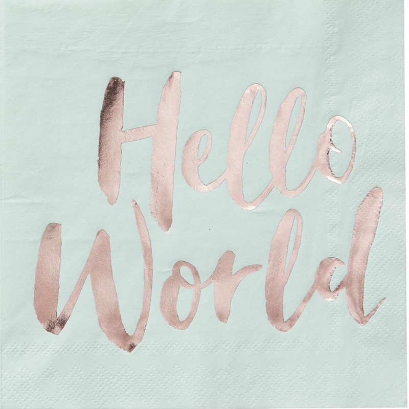 "Serviettes couleur menthe écriture ""Hello World"" rose gold (x20)"