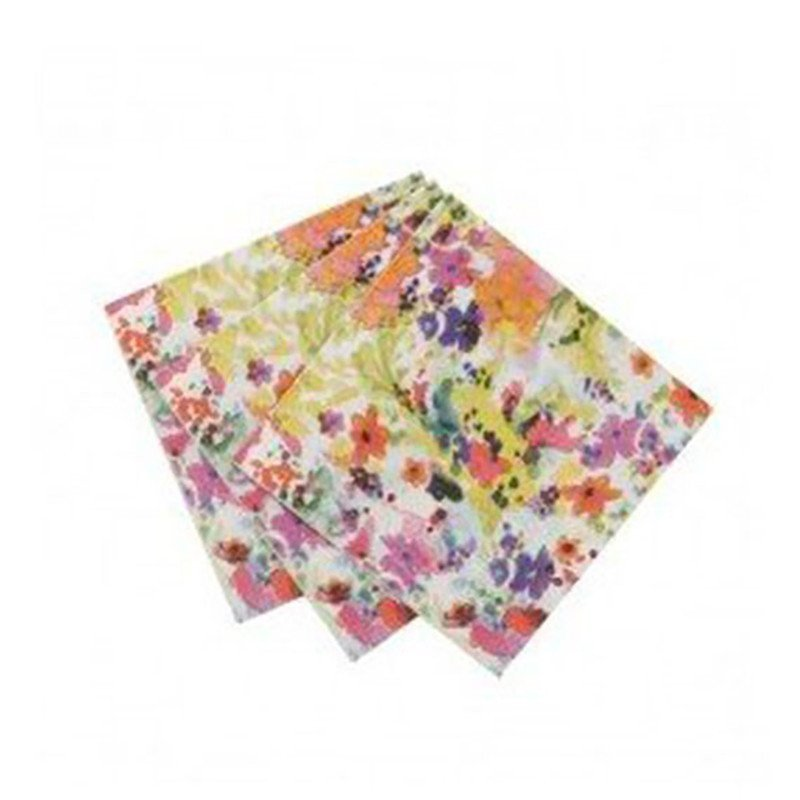 Serviettes fleuries multicolores (x40)