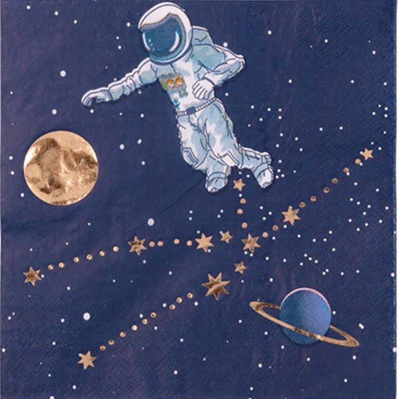 Serviette astronaute bleu nocturne (x16)