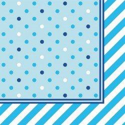 Serviettes à pois (x20) - Bleu