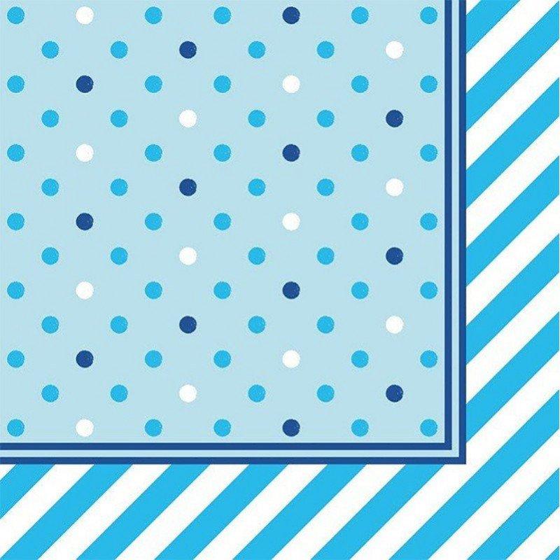 Serviette bleue pois et rayures blanches et bleues  (x20)