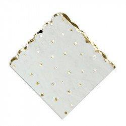 Serviettes blanches à pois et festons dorés (x16)