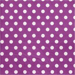 Serviettes à pois (x20) - Prune