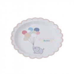 Assiette Elephant aux ballons (x8)