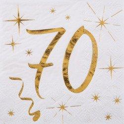 """Serviettes """"70 ans"""" blanches et dorées (x20)"""