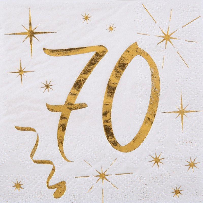 20 Serviettes papier blanche et dorée 70 ans
