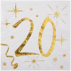 20 Serviettes papier blanche et dorée 20 ans