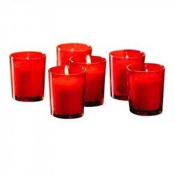 Bougies Rouges en verre (x6)
