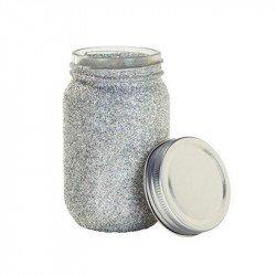 Mason Jar glitter argenté