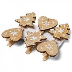 Pinces sapins & pinces coeurs en bois (x6)
