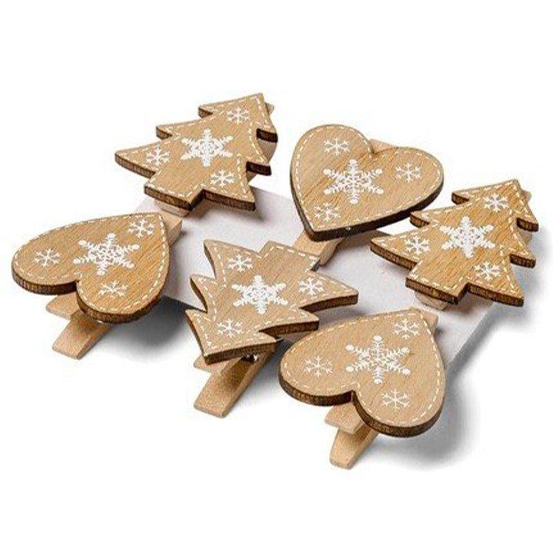lot 3 sapins & 3 coeurs en bois sur pince