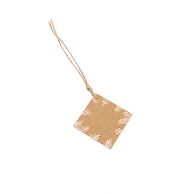 Etiquettes kraft fougères rose gold (x10)