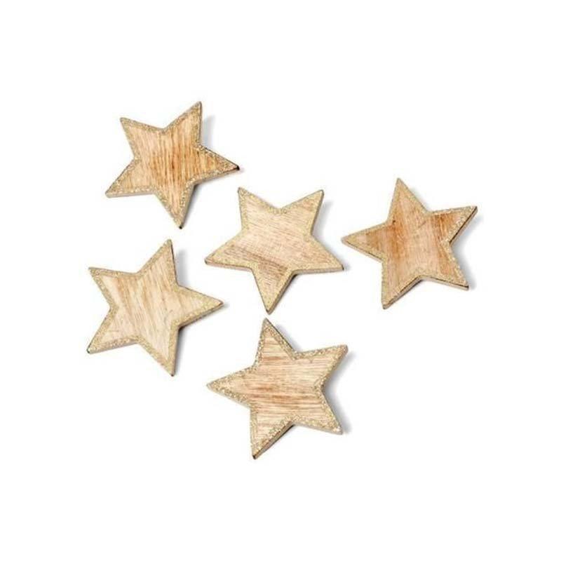 5 Etoiles bois contour paillettes cuivre