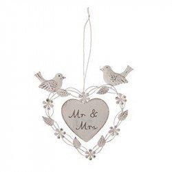 Coeur Mr&Mrs oiseaux à suspendre