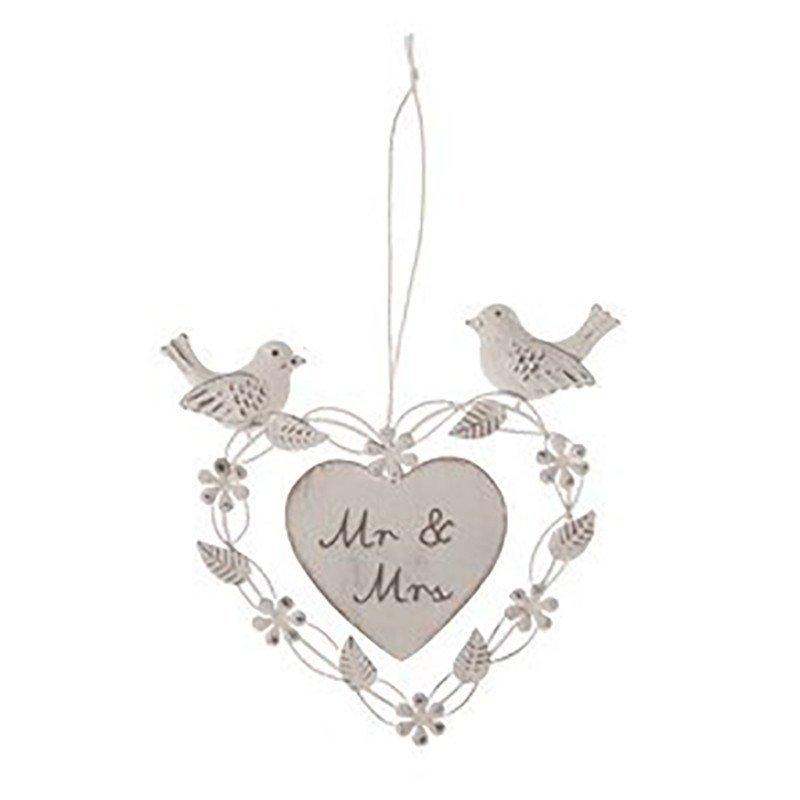 Coeur Mr&Mrs oiseau à suspendre