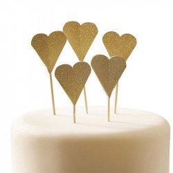 Pics coeurs dorés à paillettes (x10)