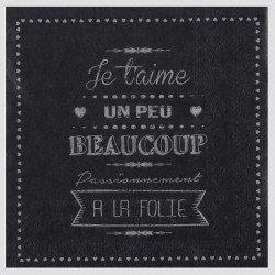 """Serviettes """"je t'aime"""" (x20) - Noir"""