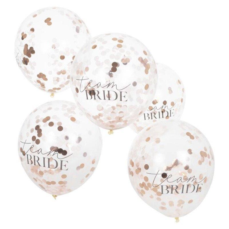 """Ballons confettis """"Team Bride"""" (x5)"""