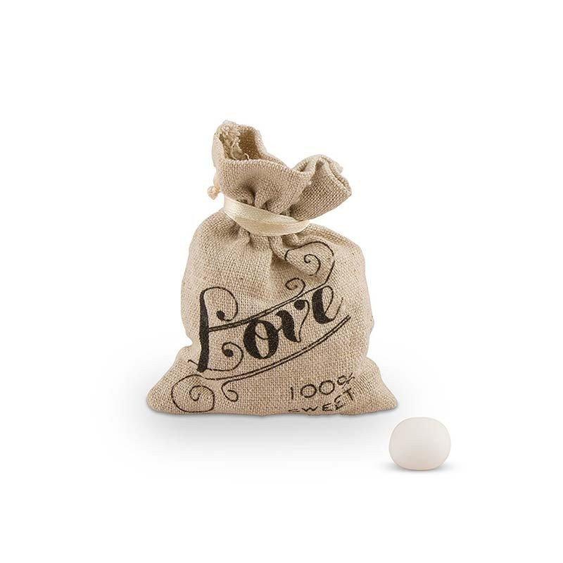 """Sachet en jute écriture """"Love"""" (x12)"""