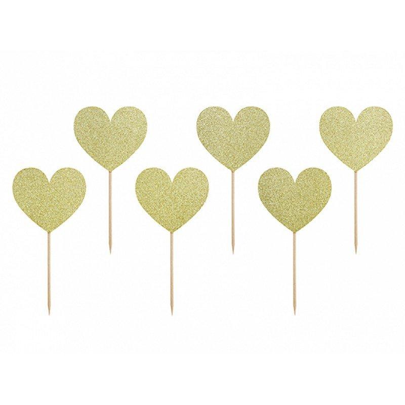 Pics coeur doré à paillettes (x6)
