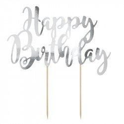 "Cake topper ""Happy Birthday"" - Argent"