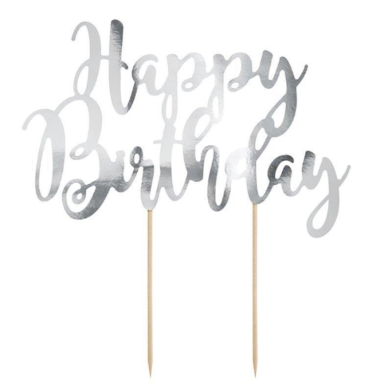 "Cake topper ""Happy Birthday"" argent"