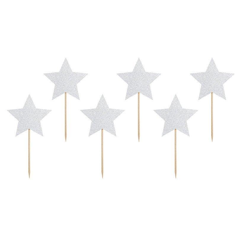Pics étoiles argenté (x6)