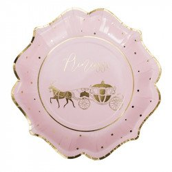 8 Assiettes princesse rose et or