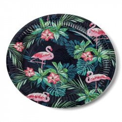 Assiettes Tropicales Flamingo (x8)