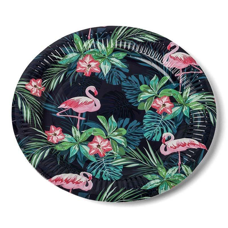 Assietets tropicales flamingo (x8)