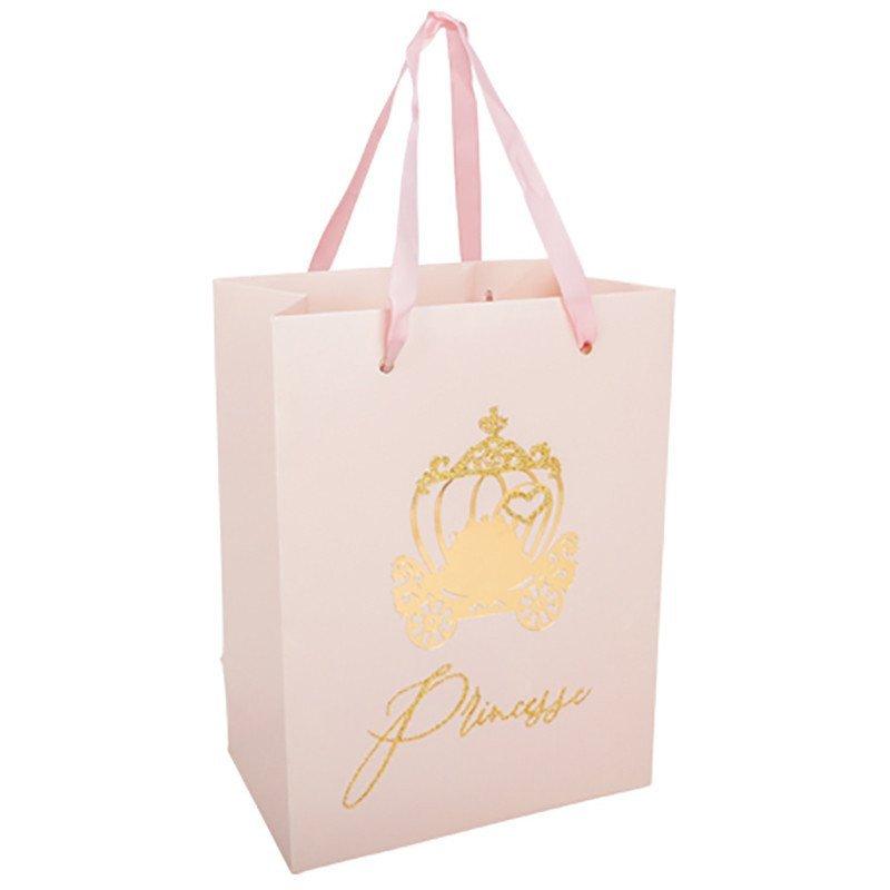 4 Sacs cadeaux princesse rose paillettes et or