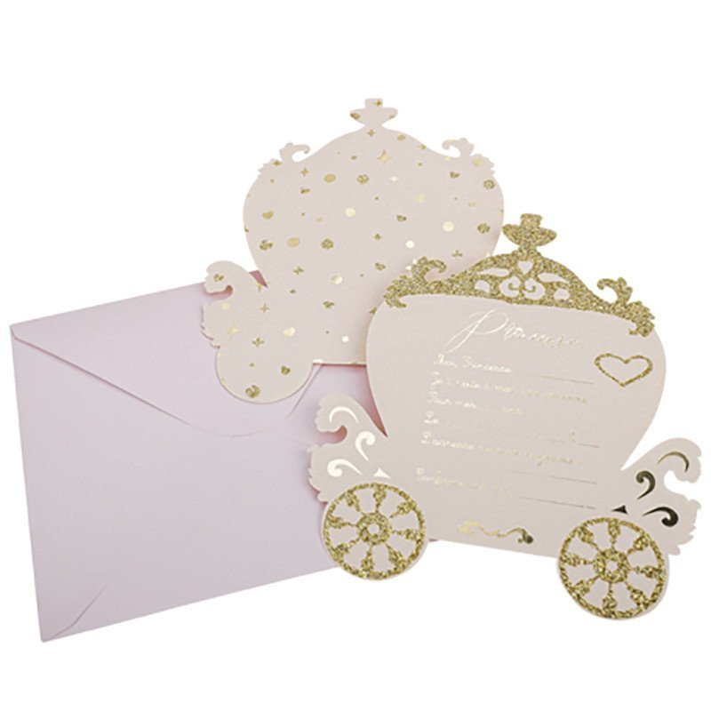 8 Invitations Princesse au Carrosse doré + enveloppes