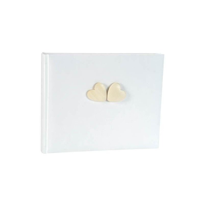 Livre d'or blanc motif cœur en bois