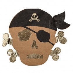 16 Serviettes pirate kraft noir et dorure or
