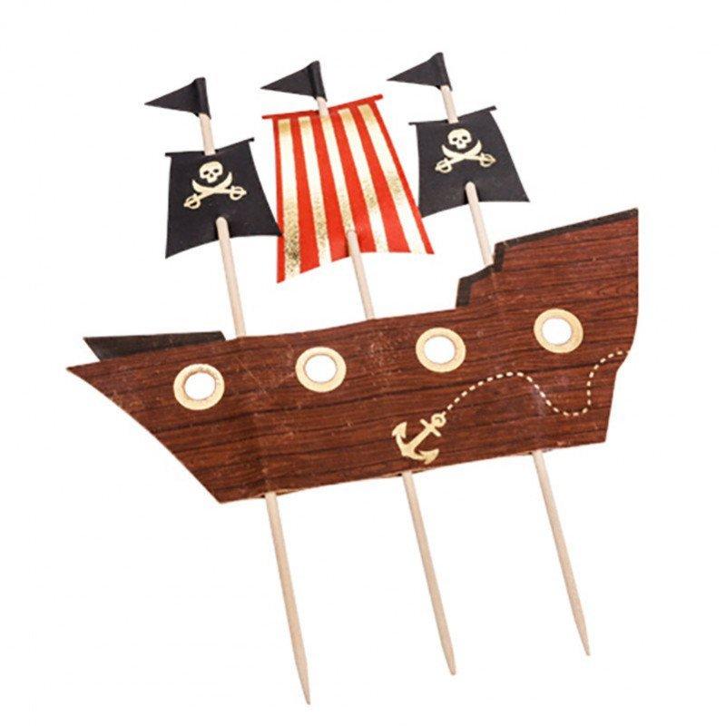 Cake topper bateau pirate dorure or