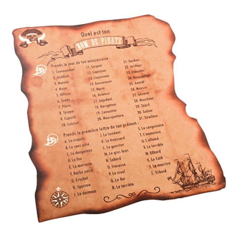 8 Cartes jeu nom de pirate kraft et dorure