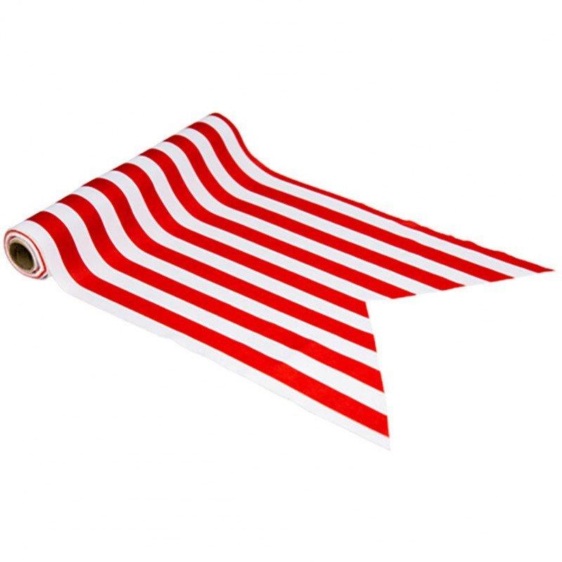 Chemin de table à rayures rouges et blanches