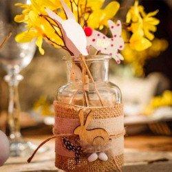 Pics lapins - jaune fuchsia pois et pompons - 12 unites