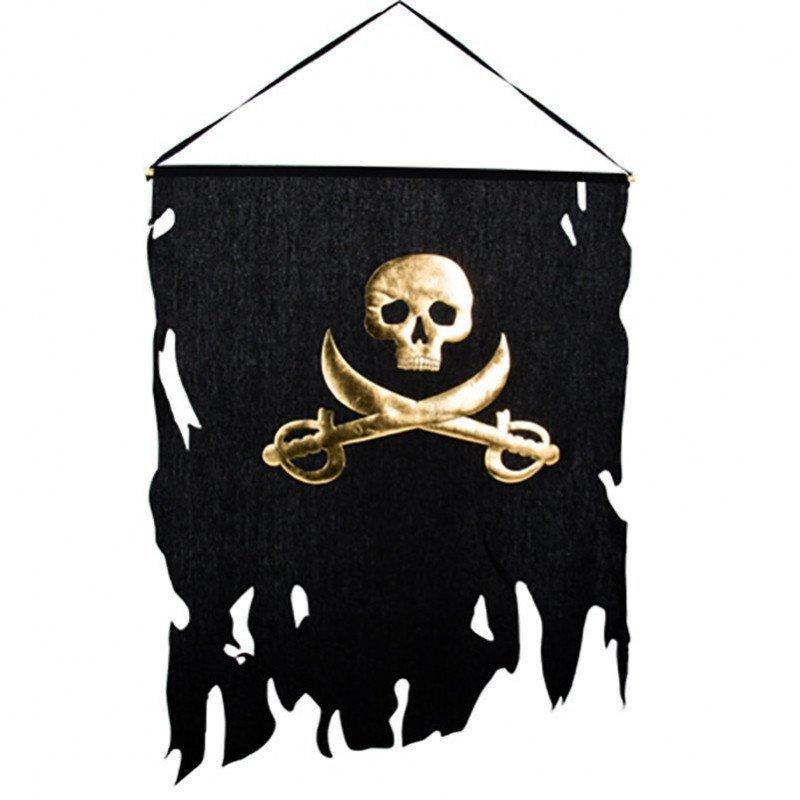 Drapeau piratenoir et or