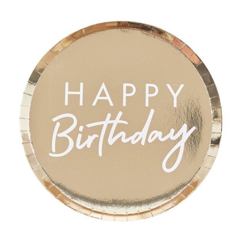 "8 Assiettes ""Happy Birthday"" dorés"