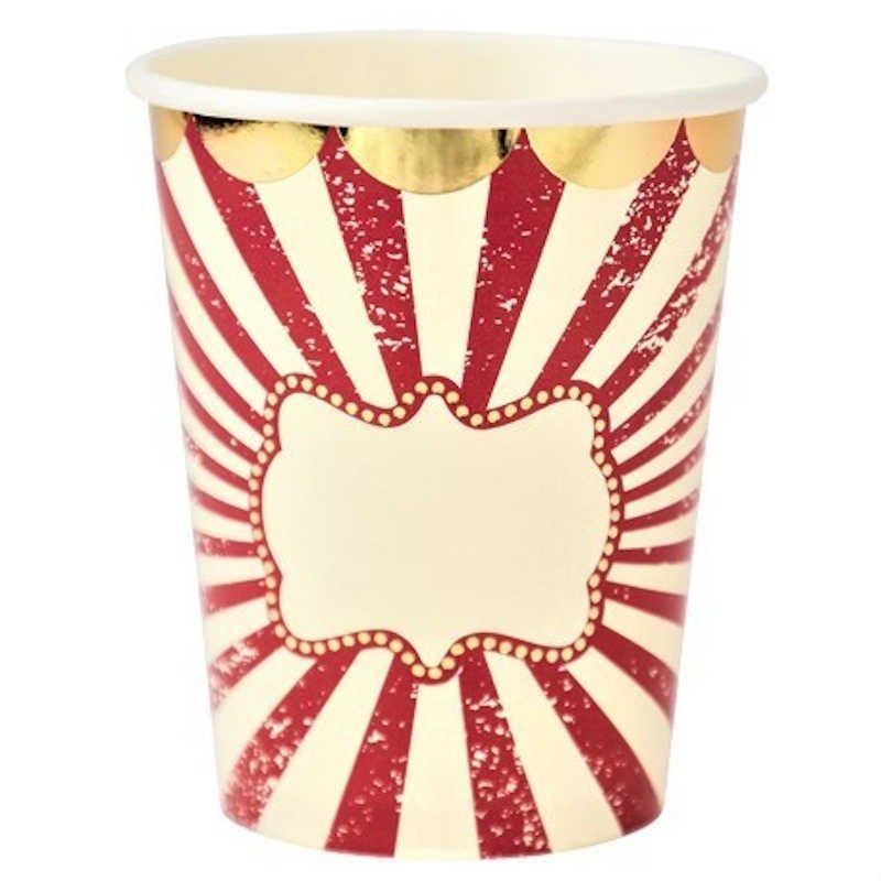 """Gobelet """"Circus"""" à rayures rouges et blanches contours dorés"""