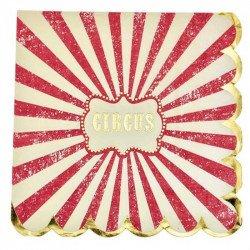 """Serviette """"Circus"""" à rayures rouges et blanches contours dorés"""