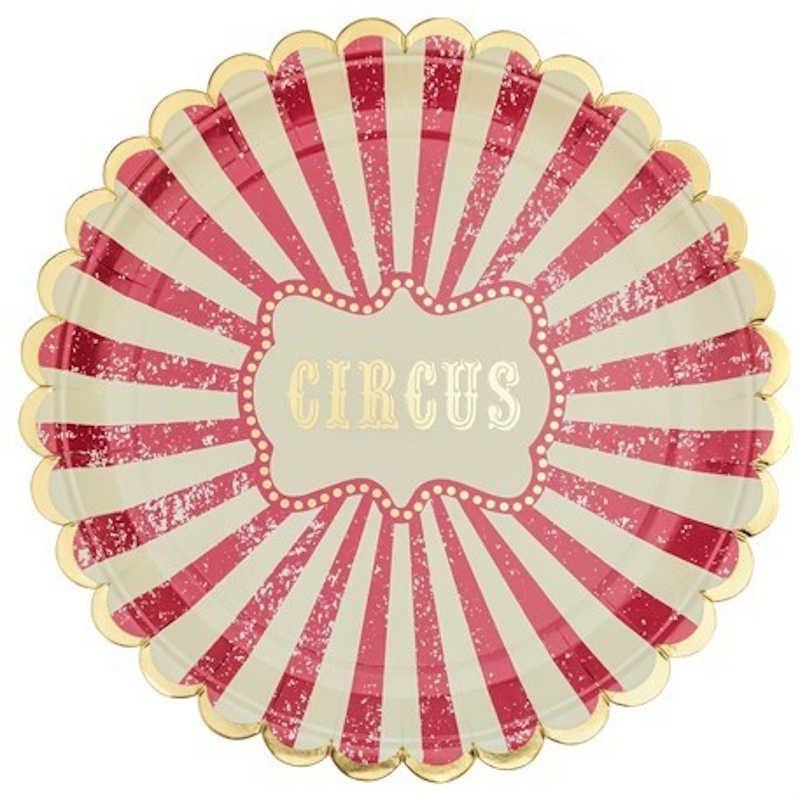 """Assiettes """"Circus"""" rayures rouges et blanches contours dorés"""