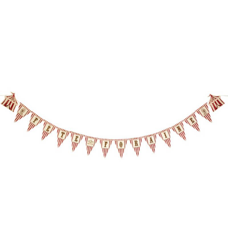 "Guirlande fête foraine ""Circus"" à rayures rouges et blanches"